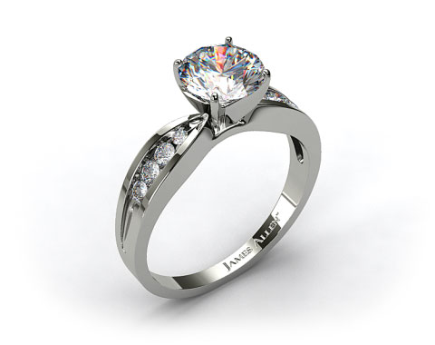 18k White Gold Bow-Tie Channel Set Round Shaped Diamond Engagement Ring