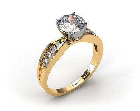 18k Yellow Gold Bow-Tie Channel Set Round Shaped Diamond Engagement Ring