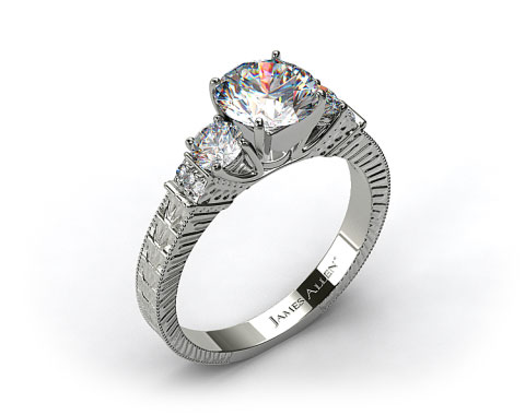 14k White Gold Royal Antique Style Round Shaped Diamond Engagement Ring