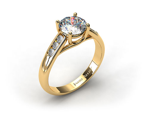 18k Yellow Gold Cross Prong Cathedral Style Diamond Engagement Ring