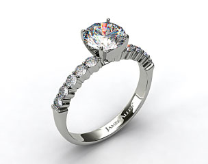 14k White Gold Common Prong Ten Round Diamond Engagement Ring