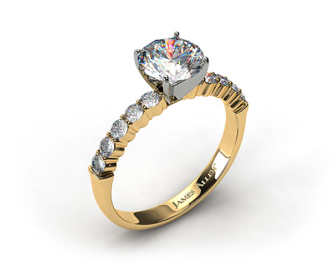 18k Yellow Gold Common Prong Ten Round Diamond Engagement Ring