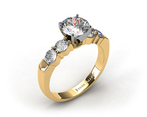 18k Yellow Gold Common Prong Four Round Diamond Engagement Ring