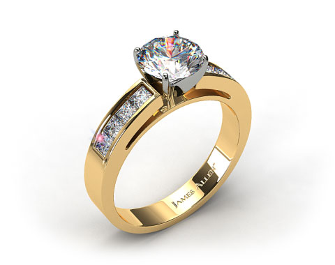 18k Yellow Gold Channel Set Princess Shaped Engagement Ring