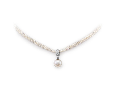 14k White Gold Fresh Water Pearl and Diamond Necklace.