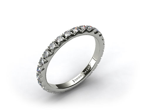 18k White Gold 0.56ct French-Cut Pave Set Diamond Eternity Wedding Ring