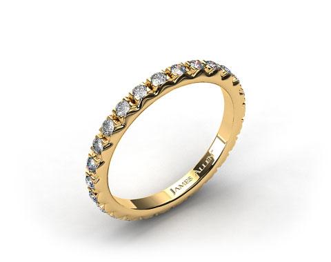 18k Yellow Gold 0.56ct French-Cut Pave Set Diamond Eternity Wedding Ring