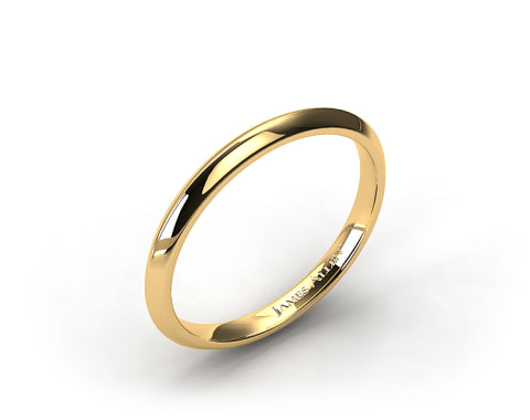 18k Yellow Gold 2mm Knife Edge Women's  Wedding Ring