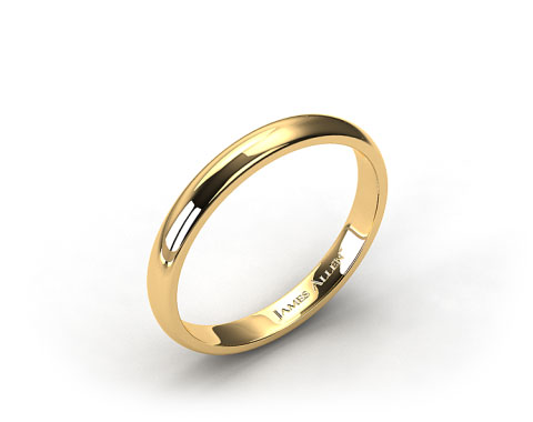 18k Yellow Gold 2.5mm Half Round Wedding Band