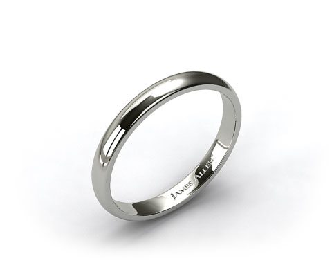 18k White Gold 2.5mm Half Round Wedding Band