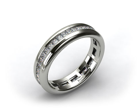 Platinum 0.85ct Channel Set Princess Shaped Diamond Eternity Band