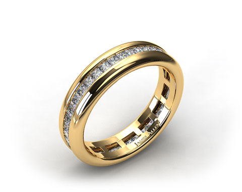18K Yellow Gold 0.85ct Channel Set Princess Shaped Diamond Eternity Band