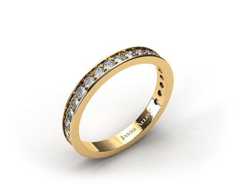 18K Yellow Gold 0.42ct Pave Diamond Wedding Ring