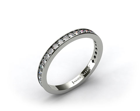 14k White Gold 0.17ct Pave Diamond Wedding Ring