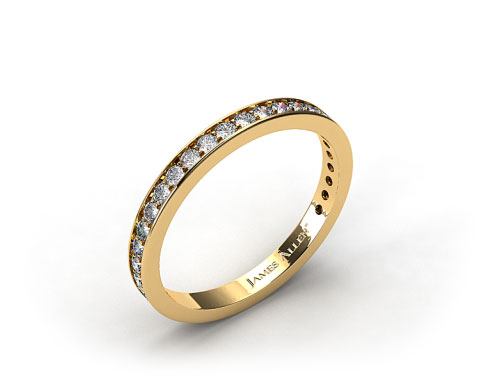 18K Yellow Gold 0.17ct Pave Diamond Wedding Ring