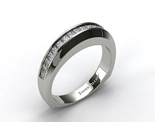 Platinum 0.40ct Square Shank Channel Set Princess Shaped Diamond Wedding Band