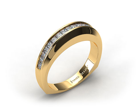 18k Yellow Gold 0.40ct Square Shank Channel Set Princess Shaped Diamond Wedding Band