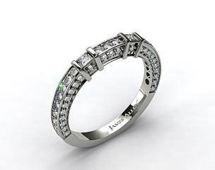 18k White Gold 0.93ct Bar Set and Pave Diamond Wedding Ring