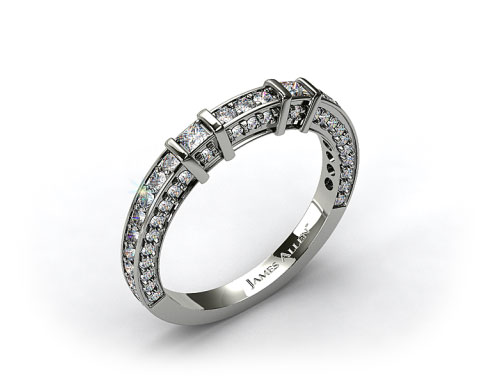 Platinum 0.93ct Bar Set and Pave Diamond Wedding Ring