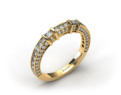 18k Yellow Gold 0.93ct Bar Set and Pave Diamond Wedding Ring