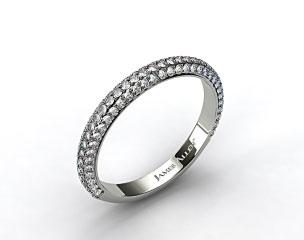 18K White Gold 0.58ctw Rounded Pave Set Diamond Wedding Ring