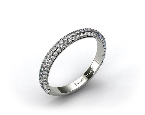 14k White Gold 0.58ctw Rounded Pave Set Diamond Wedding Ring