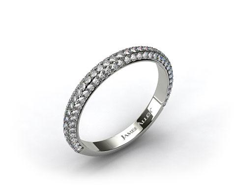14k White Gold 0.58ctw Rounded Pave Set Diamond Wedding Ring