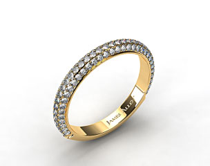 18k Yellow Gold 1.15ctw Rounded Pave Set Diamond Wedding Ring