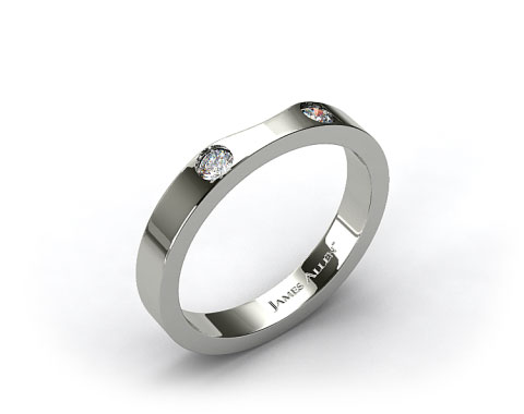 14K White Gold 0.06ct Slightly Curved Round Brilliant Diamond Wedding Ring