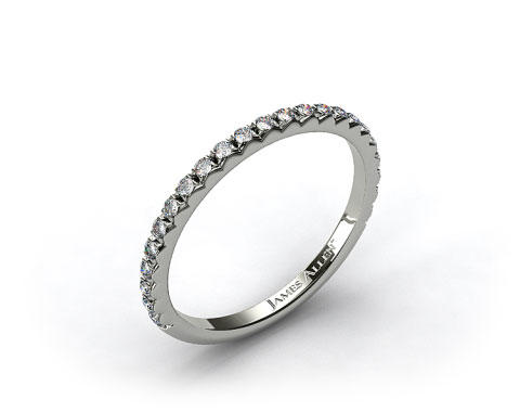 18k White Gold French Cut Pave Set Diamond Wedding Ring