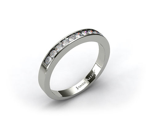 14K White Gold 0.16ct Channel Set Diamond Wedding Ring