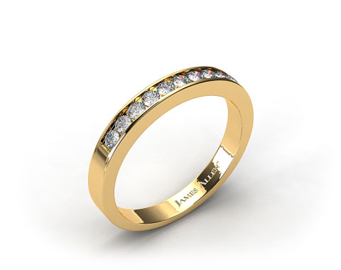 18K Yellow Gold 0.16ct Channel Set Diamond Wedding Ring