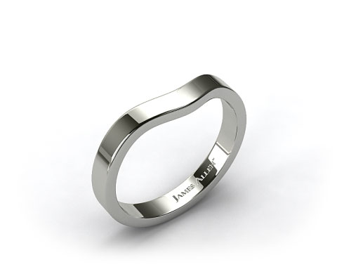 18k White Gold 2.7mm Curved Women's Wedding Band