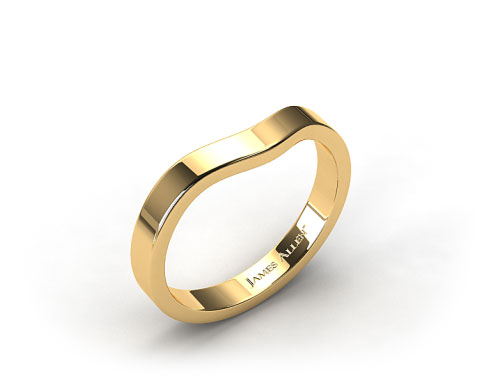 18k Yellow Gold 2.7mm  Curved Women's Wedding Band