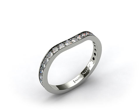 18K White Gold .17ct Curved Pave Set Diamond Wedding Ring
