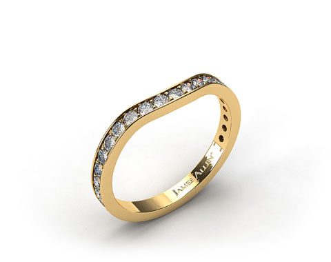 18k Yellow Gold .17ct Curved Pave Set Diamond Wedding Ring