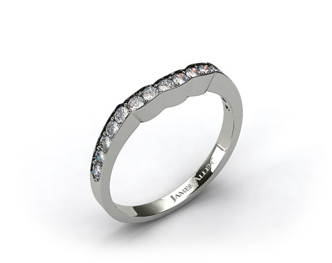 18k White Gold Contoured Pave Set Diamond Wedding Ring