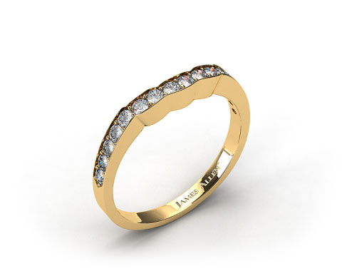 18K Yellow Gold Contoured Pave Set Diamond Wedding Ring