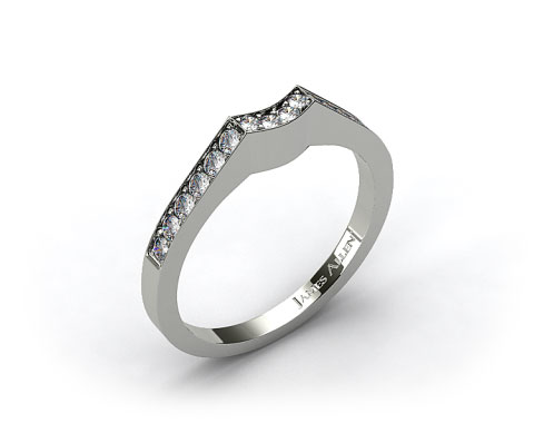 18k White Gold Curved Pave Set Diamond Wedding Ring