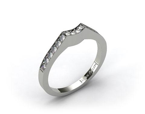 Platinum Curved Pave Set Diamond Wedding Ring