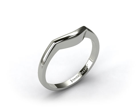 18k White Gold Curved Wedding Ring