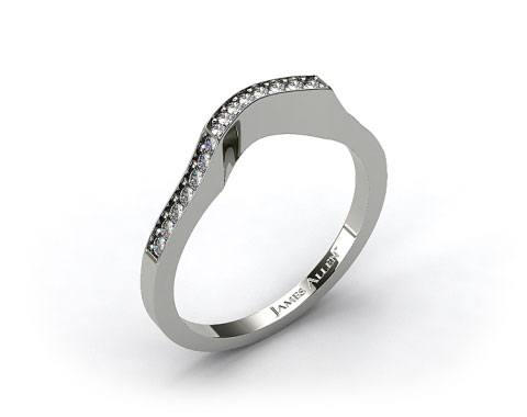 Platinum Curved Pave Set Diamond Wedding Ring