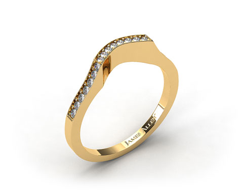 18k Yellow Gold Curved Pave Set Diamond Wedding Ring