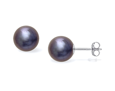 14k White Gold 10mm Black Freshwater Pearl Stud Earrings