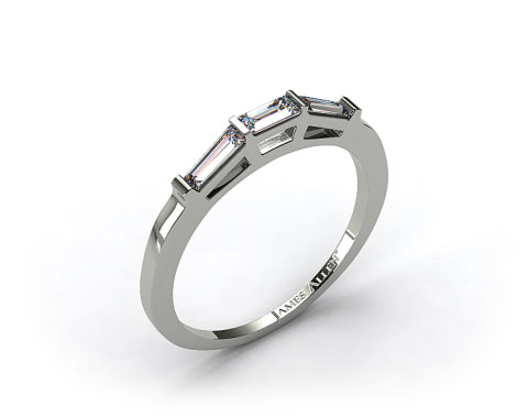 14K White Gold 0.33ct Tapered Baguette Wedding Ring