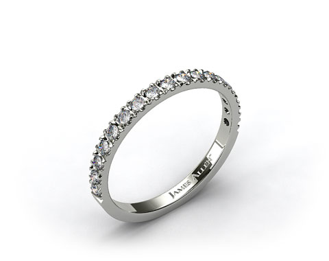 14k White Gold 0.42ct Art-Nouveau Pave Set Diamond Wedding Ring