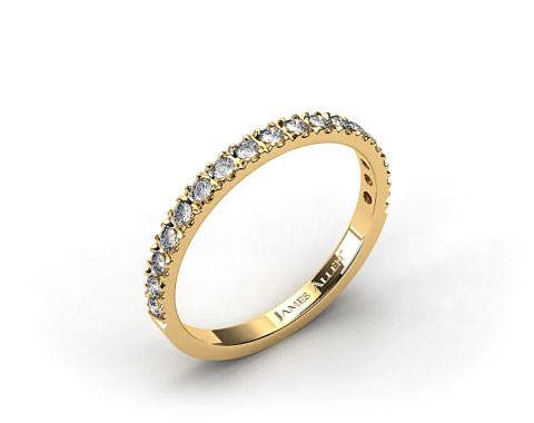 18K Yellow Gold 0.42ct Art-Nouveau Pave Set Diamond Wedding Ring