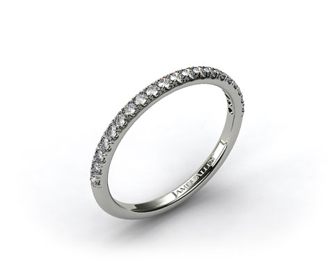 14K White Gold 0.15ct Thin Pave Set Diamond Wedding Ring