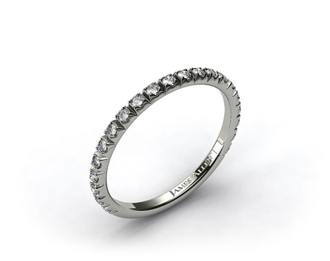 14K White Gold 0.20ct Thin French-Cut Pave Set Diamond Wedding Ring