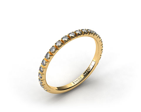 18K Yellow Gold 0.20ct Thin French-Cut Pave Set Diamond Wedding Ring